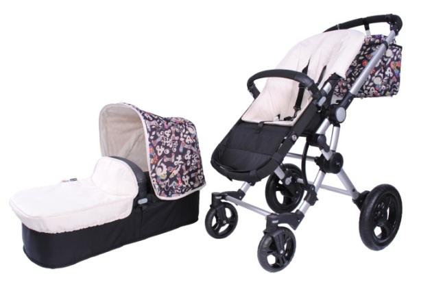 Baby Ace 042 capota y cochecito V&L crema-negro