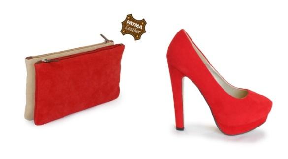 Clutch y zapato rojo de Payma