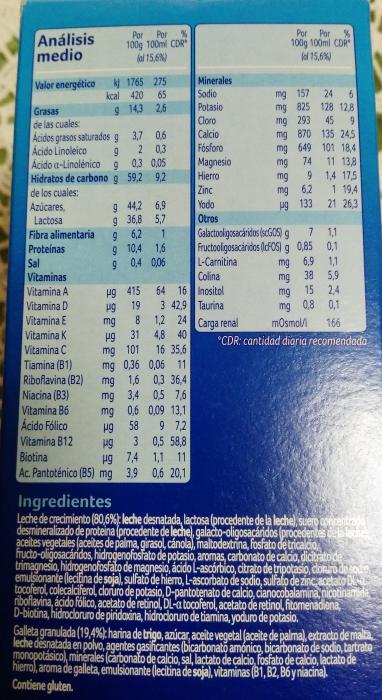 Almirón Crecimiento valores nutricionales