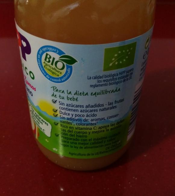 zumo de platano y manzana etiqueta