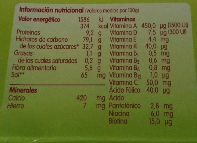 valores nutricionales Blevit plus 8 cereales con miel y frutas
