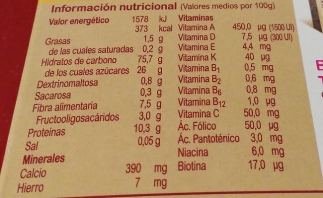 valores nutricionales Blevit plus cereales y copos de maíz